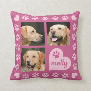 3 Photo Collage Dog Name Pink Heart Throw Pillow