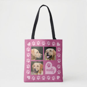 3 Photo Collage Dog Name Pink Heart Tote Bag