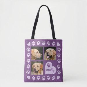 3 Photo Collage Dog Name Purple Heart Tote Bag