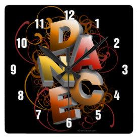 3D Dance (fall) Square Wall Clock