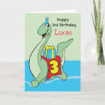 ❤️ Cute Happy Green Dinosaur 3rd Birthday Card (Also available For 2nd Birthday)