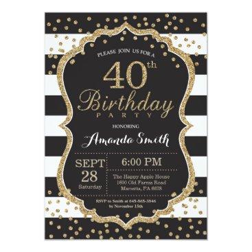 40th Birthday Invitation. Black and Gold Glitter Invitation