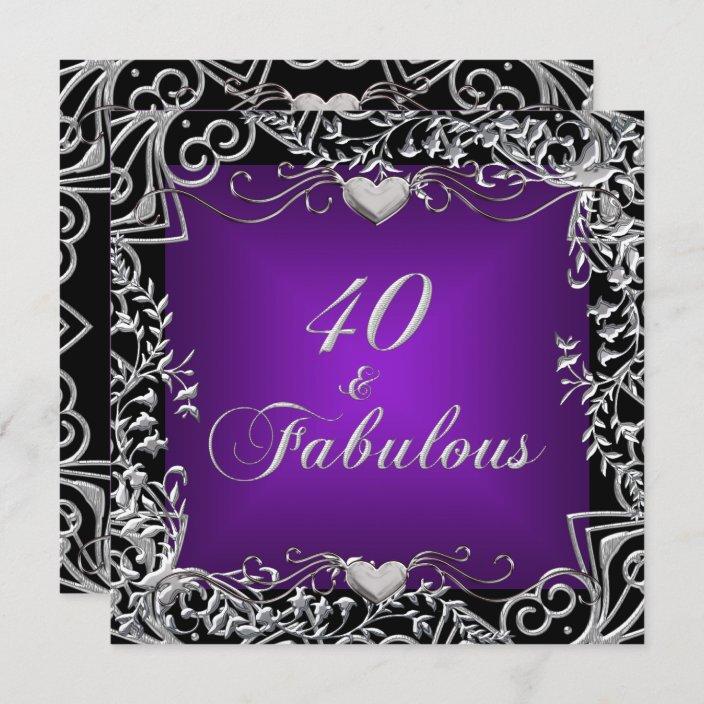 40th birthday party black silver deep purple invitation zazzle com