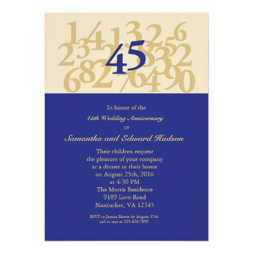 45th Sapphire Wedding Anniversary Invitation