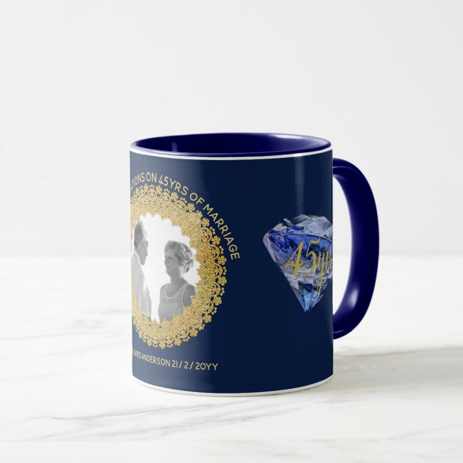 Colorful Forty Wedding Anniversary Gifts Festooning Blue Wedding