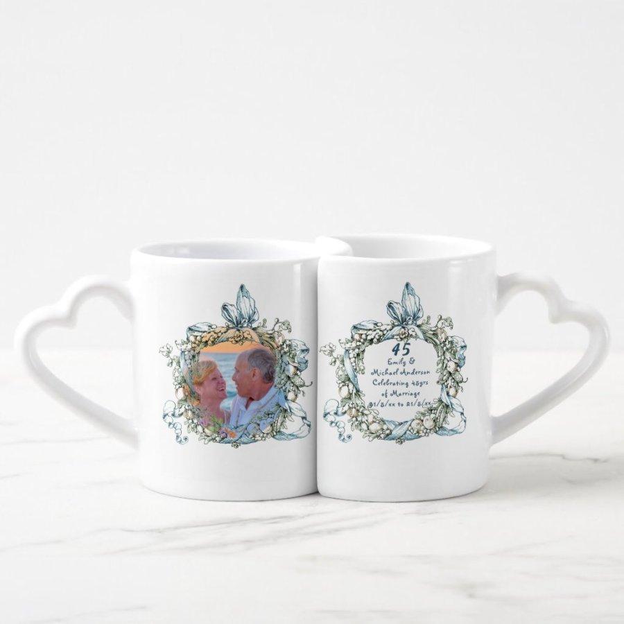 45th Wedding Anniversary COUPLE Mugs PHOTO Names