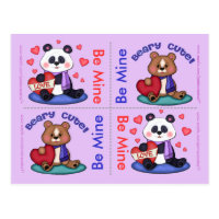 4 Cute Teddy Bear Valentine Flat Cards