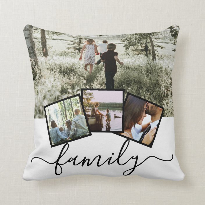 4 photo collage family personalized throw pillow zazzle com