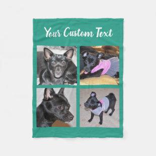 4 Photo Collage | Green Fleece Dog Blanket