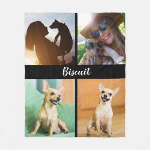 4 Photo Dog Blanket with Black |