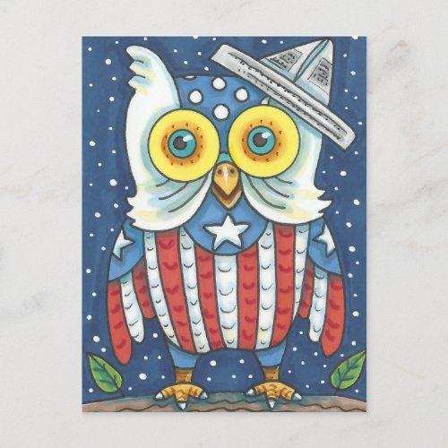 4TH OF JULY AMERICAN OWL, BIRD, HOLIDAY POSTCARD