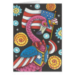 ❤️ 4TH OF JULY PINK FLAMINGO HOLIDAY NOTE CARD Blank