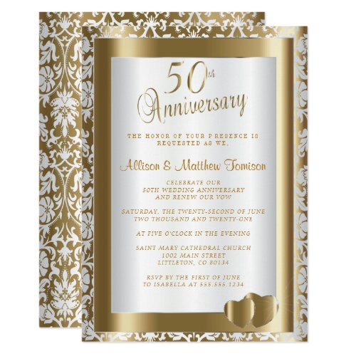 50th Golden Wedding Anniversary | DIY Text Invitation