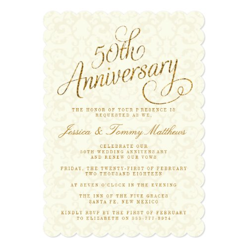 Perfect For Golden Wedding Anniversary Invitations 50th 50 Years