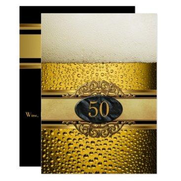 50th Mans Beer Black Gold Birthday Party Invitation