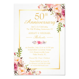 50th Wedding Anniversary Invitation With Photo