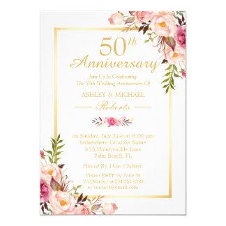 Elegant Gold 50th Wedding Anniversary Party Card