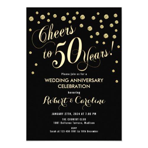 50th Wedding Anniversary Invitation - Black &amp&#x3B; Gold