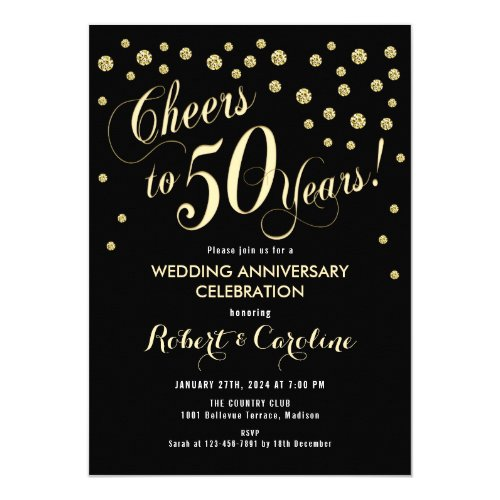 50th Wedding Anniversary Invitation - Black & Gold