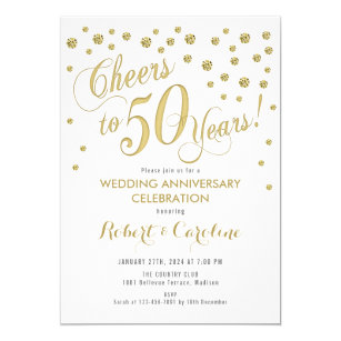 50th Wedding Anniversary Invitation Gold White