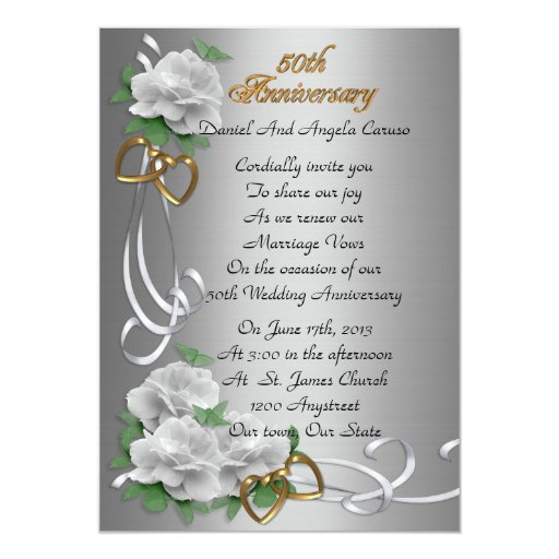 50th Wedding Anniversary Vow Renewal White Roses Card Zazzle