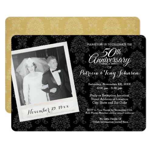 50th Wedding Anniversary with Vintage Photo Invitation