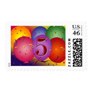 5th Birthday Party Balloon decorations Postage Stamps