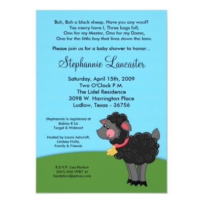 Black Sheep Nursery Baby Shower Invitation