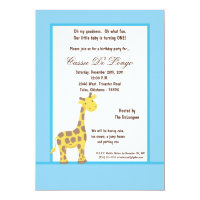 5x7 Blue Giraffe Birthday Party Invite