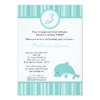 5x7 Hawaiian Ocean Dolphin Birthday Invitation