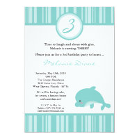 5x7 Hawaiian Ocean Dolphin Birthday Invitation