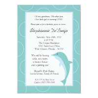5x7 Tropical Ocean Dolphin Birthday Invitation