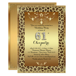 61st Birthday Party Royal Cheetah Gold Plus Invitation