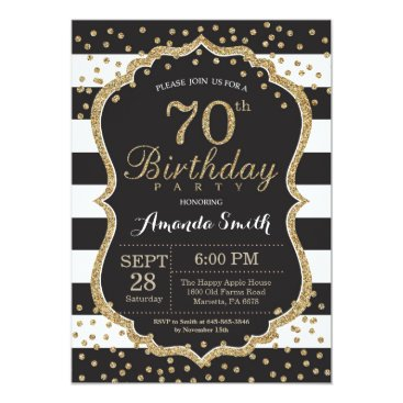 70th Birthday Invitation. Black and Gold Glitter Card