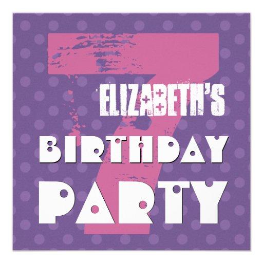 8 Year Old Birthday Invitations Purple