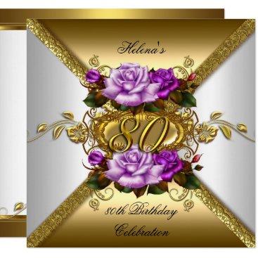 80th Birthday Party Elegant Purple Gold Roses 3 Invitation