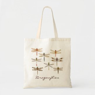 8 different dragonflies canvas bags