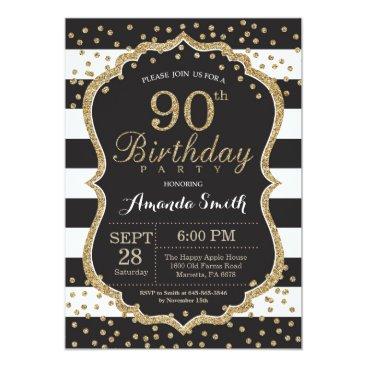 90th Birthday Invitation. Black and Gold Glitter Invitation