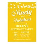90th Birthday Invitation Yellow Fabulous