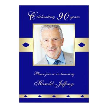 90th Photo Birthday Party Invitation Navy 90