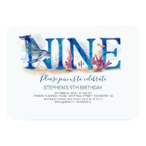 9 Birthday Invitation Under the Sea Marine Park