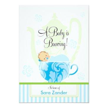 A Baby Shower Tea Party     Boy Invitation