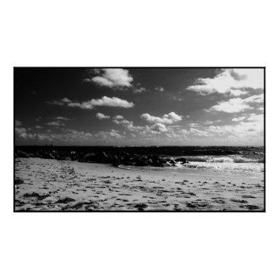 A Black and White Beach Scene Print by LisCampll