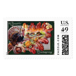 A Bountiful Thanksgiving Vintage Victorian Card Postage Stamp