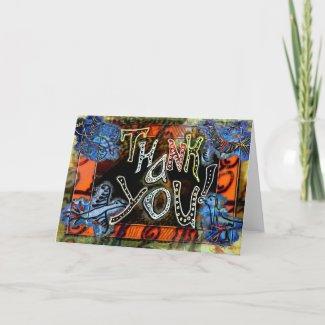 "A bright folk art ""Thank You"" Card with birds"