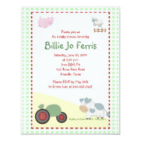 A Day on the Farm Barnyard Baby Shower 4.25 x 5.5 Card
