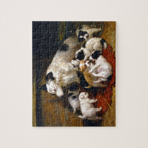 A dog and her puppies jigsaw puzzle