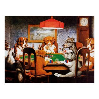 A Friend in Need C M Coolidge Dogs Playing Poker Print