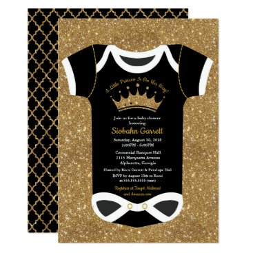 A Little Princess Black & Royal Gold Baby Shower Card