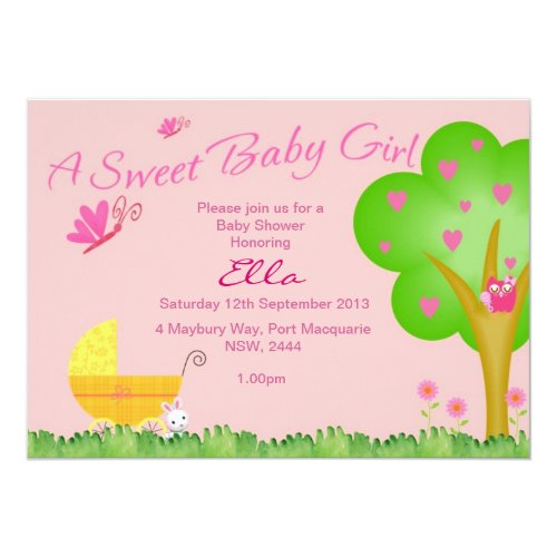A Sweet Baby Girl Baby Shower Invitation